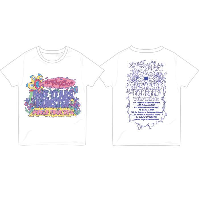 【5iVE YEARS WORLD】WT16-002<br>5iVE YEARS WORLD T-Shirts ホワイト(S、M、L)